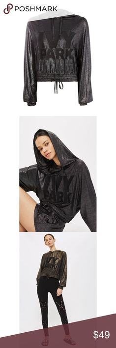 💕 IVY PARK by BEYONCÉ lamé embroidered hoodie Lamé embroidered logo hoodie   From the Beyoncé created clothing line, this style sold out everywhere online! ✨  Embroidered letters brand the front of a light and slouchy hoodie dusted in metallic to shine in the sun or moonlight ✨  Drawstring hood Long raglan sleeves with elastic cuffs Slight crop style  Elastic/drawstring hem 89% polyester, 11% elastane Machine washable   Ivy Park fits true to size; size M = size 8-10   Like NEW without tags…