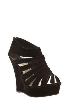 Plus Size Yoki - Black Suede Alyson Sandal Wedges (Medium Width)