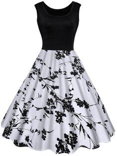 Fashionmia - Fashionmia Black White Round Neck Printed Skater Dress - AdoreWe.com