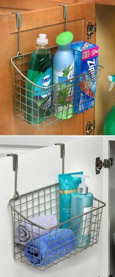 Over The Door Basket - genius! Use them under the sink, or hang over any door.
