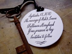 Here is a beautiful save the date token designed by Maybelle Imasa-Stukuls, one of our favorite calligraphers, treat-bringers and jet-set globetrotters.  The tag is printed on 220# Lettra Duplex for maximum depth of impression, die cut with a slot hole punch to accommodate a wide ribbon.