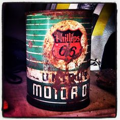 Old motor oil can from Shea's Station on Route 66 in Springfield, Illinois.  instagram.com/66icons