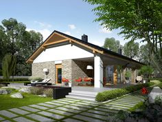 Daniel is a house designed for a family who appreciates the noble elegance, modern comfort and convenient connections and. Modern Architecture House, Modern House Design, Architecture Design, Single Storey House Plans, Modern House Floor Plans, Farm Plans, Weekend House, Modern Bungalow, Bedroom House Plans