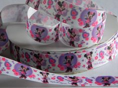 "Minnie Mouse Grosgrain Ribbon 5 yards of 7/8"" White Ribbon with Pink and Purple Hearts and Flowers Minnie Mouse Hair Bows Birthday Party by HouseofHairDecor on Etsy"