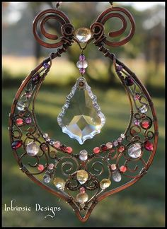 wire wrapping suncatchers | My latest gemstone suncatcher..Indian style