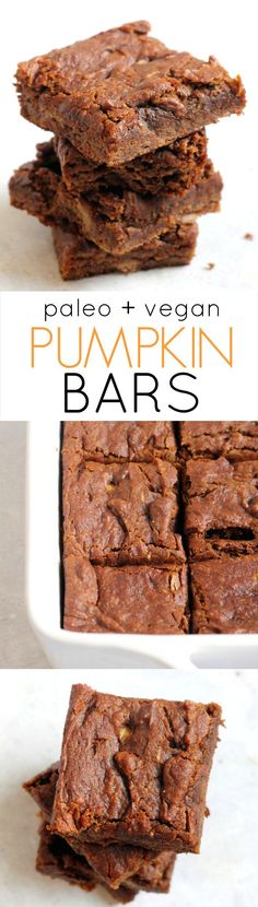 Paleo Pumpkin Bars (Vegan) The Ultimate Pumpkin Bars—paleo, vegan, and free of oil, and refined sugar! These quick and easy bars are the perfect guilt-free treat. Paleo Dessert, Dessert Sans Gluten, Low Carb Dessert, Healthy Sweets, Vegan Desserts, Dessert Recipes, Easy Desserts, Dinner Dessert, Healthy Pumpkin Bars
