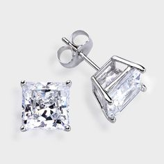2 0 Ct Each Princess Cut 14k Stud Earring High Quality Cubic Zirconia Earrings
