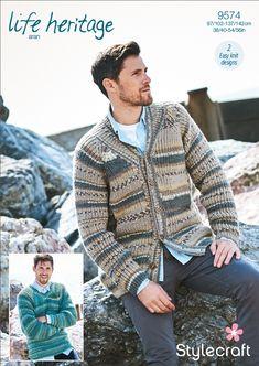 4d8c6531ef1dab Stylecraft Life Heritage Aran Pattern 9574 Men s Fisherman s Rib Shawl  Collared Jacket ...