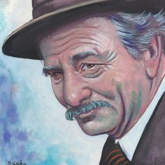 Peter Falk as Grandpa from the Princess Bride Done on 6x6 inch Aquabord with Winsor & Newton Gouache Paints