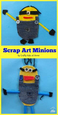Why not turn your fabric scraps into these cute Minion collages with your kids this week? A cool way to celebrate the release of the new Minions Movie.