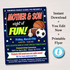 EDITABLE Mother Son School Dance Set, Dance Flyer Party Sports Night Invitation, Fundraiser Church Community Event pto pta, INSTANT DOWNLOAD by TidyLadyPrintables on Etsy https://www.etsy.com/listing/574538156/editable-mother-son-school-dance-set