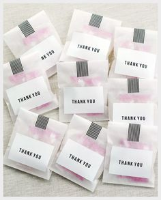 Thank you Favours (I would use mini marshmallows.)