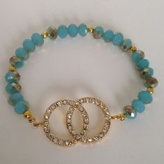 Bring some bling to your summer outfit with the turquoise diamond cut bracelet by Bestowed Beads