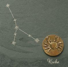 Wandrelief Sternzeichen Krebs 14, 5 cm Schiefer Swarovski