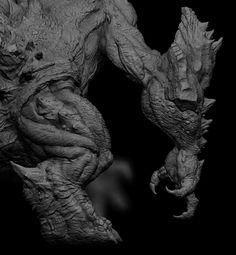 "Hi, I'm Yuta Otani, CG designer living in Japan. Sculpted in Zbrush, composited in Photoshop ""Original kaizyu"" 415010 415011 Photoshop Original, Odin And Thor, Sculptures, Lion Sculpture, Zbrush Tutorial, Digital Sculpting, Arte Pop, 3d Max, 3d Modeling"