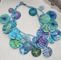 Fabric Necklace Little Umbrellas BLUE HAWAIIAN Chic Hippie Boho