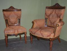 Herter Bros. Walnut and marquetry carved chairs.