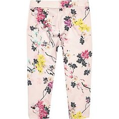 RI £10 Mini girls pink floral print leggings