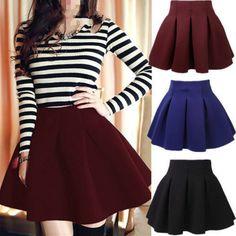 Women Cotton Vintage Stretch High Waist Plain Skater Flared Skirt Dress HY