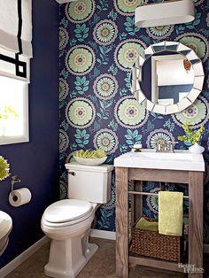 A single wall of patterned wallpaper keeps this darkly painted bathroom vibrant: http://www.bhg.com/bathroom/color-schemes/colors/bathroom-color-ideas/?socsrc=bhgpin021915midnightblueturquoisegreenapple&page=1