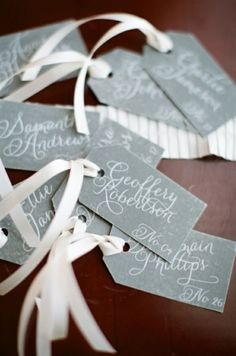 Calligraphy escort tags, photo by Alea Lovely by leanna