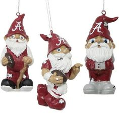 Alabama Crimson Tide 3-Pack Action Gnome Ornament Set! Check out all of the Bama Holiday decor here: http://pin.fanatics.com/COLLEGE_Alabama_Crimson_Tide_Accessories_Holiday_Items/source/pin-bama-hoilday-items-sclmp