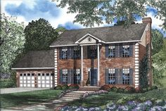 Tall columns punctuate the elegant appearance of this four-bedroom Colonial-style home.  Colonial House Plan # 151449.