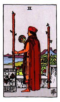 2 de Bastos, Significado de las cartas del Tarot