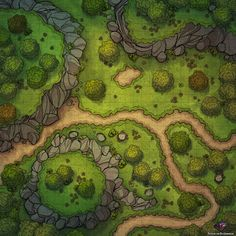 Forest Path Battle Map for Dungeons & Dragons and Pathfinder – … - Minecraft World Fantasy Map Making, Fantasy City Map, Fantasy World Map, Fantasy Rpg, Dungeons And Dragons Homebrew, D&d Dungeons And Dragons, Dnd World Map, Environment Map, Forest Map