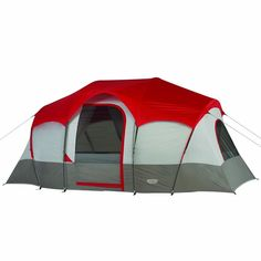 """Ideal for family camping, the Blue Ridge 7 Person Fast Pitch Cabin Tent has a hanging divider curtain that converts the large tent into two separate rooms. The Blue Ridge offers great access and ventilation with it's Dutch """"D"""" doors, three windows, and three roof vents #Tent #FastPitchCabinTent #Cabin"""
