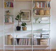 Gold Etagere With Glass Shelves Product Decor, Shelves, Interior, Bookshelves Diy, Living Room Built Ins, Home Decor, Glass Shelves, Glass Shelf Brackets, Shelving
