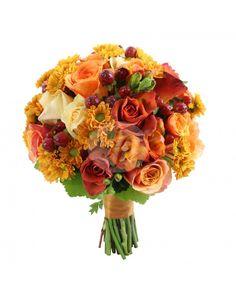 Buchet de mireasa cu trandafiri si santini BM273