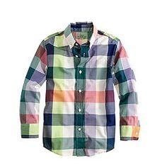 Boys' slim Secret Wash shirt in large gingham