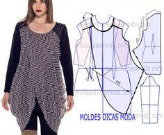 BLUSA DRAPEADA NA LATERAL -102 - Moldes Moda por Medida