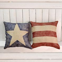 Burlap Pillow Blue Star Modern Farmhouse by NancyJeanHomeGoods