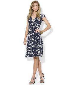 Lauren Ralph Lauren Printed Surplice Dress - Lauren Ralph Lauren - Women - Macy's