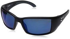 ea6ec81f68 Costa Del Mar Blackfin Sunglasses Black Blue Mirror 580 Plastic Lens --  Click image for