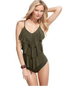 Magicsuit Swimsuit, Tiered Ruffle Tankini Top & Basic Tummy Control Brief Bottom - Womens Swim - Macy's