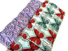 FLAX HEATING PAD,  Microwavable, Butterfly spa set of 2, Mothers day gift,  brushed Flannel washable covers, Flax seed Bag for Fibromyalgia