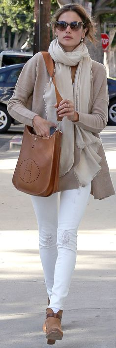Alessandra Ambrosio Looks Perfect in Winter Neutrals and Hermes Evelyne bag