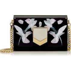 Hummingbird Motif Mosaic Black Acrylic Clutch Bag (€4.380) ❤ liked on Polyvore featuring bags, handbags, clutches, acrylic clutches, jimmy choo handbags, summer purses, acrylic handbag and jimmy choo