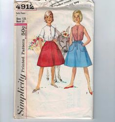 Vintage 1960s Juniors Wrap Skirt and Blouse Sewing Pattern Simplicity 4912 Size 12s  Bust 31