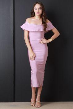 Flutter Bardot Bandage Midi Dress