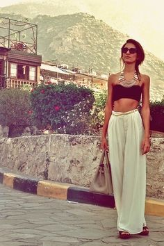 Love wide leg pants and a bandeau top