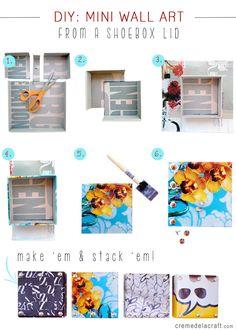 DIY: Mini Wall Art From Shoebox Lids ... Beautiful! See more awesome stuff at http://craftorganizer.org