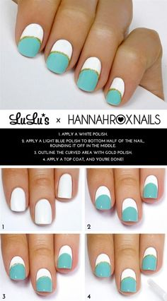 Mint White and Gold Striped Mani Tutorial. For product suggestions on how to create this design, head over to Pampadour.com! #nails #nailart #naildesign #howto #tutorial #nailpolish #polish #beauty