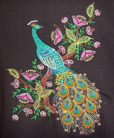 Embroidery Design Patterns : Mango,Peacocks & Butterflies - Page 4 - IndusLadies Peacock Embroidery Designs, Hand Embroidery Flowers, Machine Embroidery Designs, Peacock Images, Peacock Pictures, Peacock Tattoo, Peacock Butterfly, Hand Work Design, Kerala Mural Painting