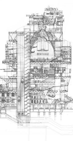 Stacked City - This hand-drawn section was made by student Stuart Franks to complete the first year of his MA at the Royal College of Art. A proposal for a stacked city above London's King's Cross station, it anticipates rapid population growth in the capital. ...