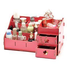 Organizador Organizer Find Manufacturers Show Seoul Explosion Oversized 30 Korean Cosmetics Cosmetic Box Desktop Diy Wooden Cosmetic Box, Cosmetic Storage, Make Up Organiser, Organiser Box, Wooden Storage Boxes, Wooden Boxes, Drawer Storage, Seoul, Box Creative