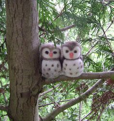 Waldorf   Wool Owls   Needle Felted in New Zealand by softearthart, $20.00  It's e and Michael As Owls :)